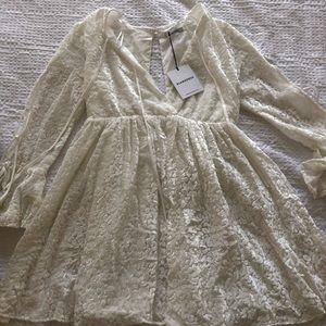 Velvet white snow leopard mini dress